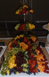 wedding-fruit display with 3 tier centerpiece